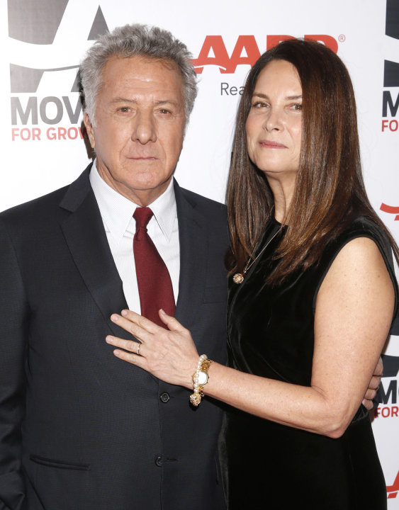 IMAGE DISTRIBUTED FOR AARP THE MAGAZINE - Dustin Hoffman, left, and Lisa Hoffman attend AARP The Magazine's 12th Annual Movies for Grownups Awards at The Peninsula Hotel on Tuesday, Feb. 12, 2013 in B