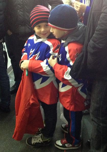 Two young fans waiting to meet Evgeni Malkin