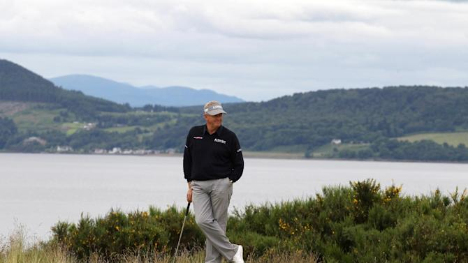 Scotland's Colin Montgomerie on the 9th hole during day two of the Scottish Open at the Castle Stuart Golf Links, Inverness, Scotland, Friday July 13, 2012. (AP Photo/PA, Lynne Cameron) UNITED KINGDOM OUT  NO SALES  NO ARCHIVE