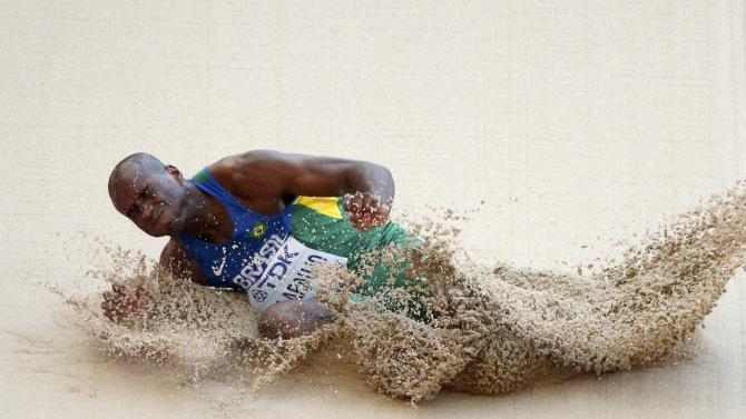 De Araujo of Brazil competes in the long jump event of the men's decathlon during the 15th IAAF World Championships at the National Stadium in Beijing