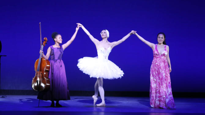 IMAGE DISTRIBUTED FOR BRIGHT FUTURE INTERNATIONAL - From left, Sujari Britt, Veronika Part and Jeewon Park perform onstage at Beyond the Ballet Presented by Bright Future International at the Beacon Theater on Wednesday, May 8th, 2013 in New York City, New York. (Photo by Todd Williamson/Invision for Bright Future International/AP Images)