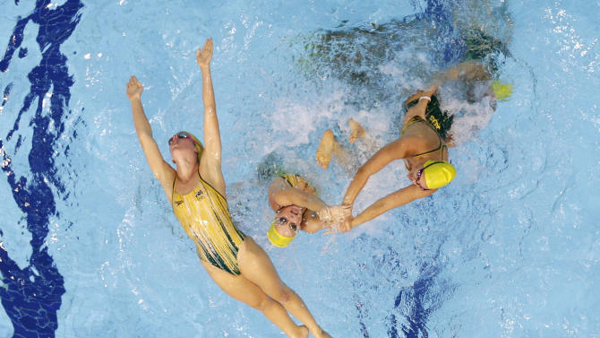 Australia's synchronized swimming team practice at the Aquatics Center at the Olympic Park ahead of the 2012 Summer Olympics, Wednesday, July 25, 2012, in London. Opening ceremonies for the 2012 London Olympics will be held Friday, July 27. (AP Photo/Mark Duncan)