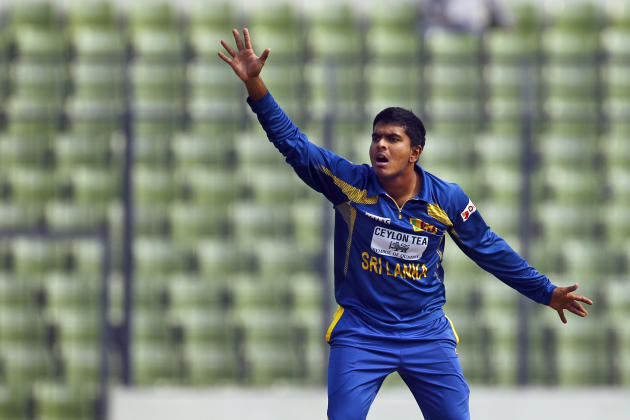 Sri Lanka's Ashan Priyanjan unsuccessfully makes the lbw appeal during the third one day international cricket against Bangladesh in Dhaka, Bangladesh, Saturday, Feb. 22, 2014. (AP Photo/A.M. Ahad)