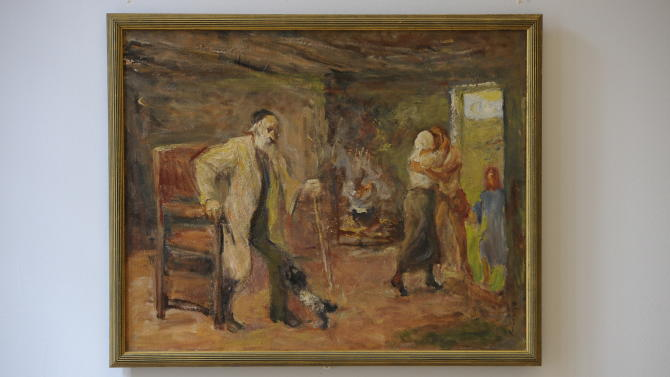 """In this picture taken Wednesday Sept. 7, 2011 the painting  """"Die Heimkehr des Tobias""""  ( The Return of Tobias)  by German-Jewish painter Max Liebermann (1847-1935)  is  photographed at the Centrum Judaicum in Berlin. Israel's national museum has returned an impressionistic painting to the estate of its creator, the German-Jewish Max Liebermann.  The work was looted from the Jewish Museum in Berlin, where it was on loan from the artist, in the 1930 where it was on loan from the artist.Following the end of World War II, the American-based Jewish Restitution Successor Organization (JRSO) collected orphaned art and distributed the pieces to Jewish institutions worldwide. Liebermann's painting was one of more than 1,000 works the JRSO delivered in 1955 to the Bezalel National Museum, the precursor to the Israel Museum.  (AP Photo/dapd/ Michael Gottschalk)"""