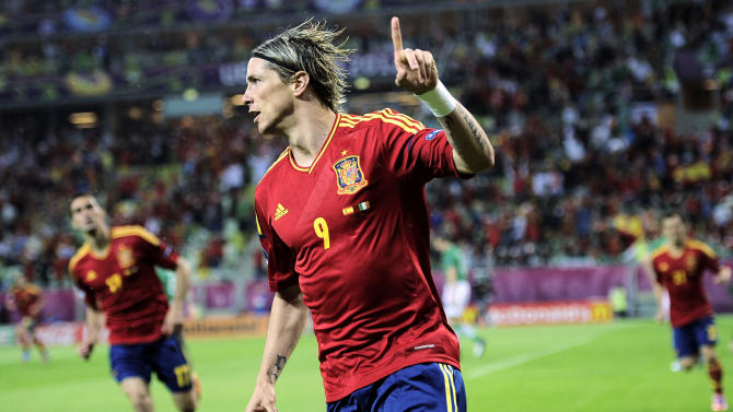 Spain's Fernando Torres celebrates after scoring a goal  during the Euro 2012 soccer championship Group C match between Spain and Ireland in Gdansk, Poland, Thursday, June 14, 2012. (AP Photo/Alvaro Barrientos)