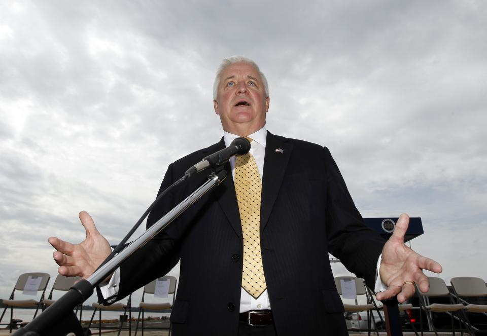 Gov. Tom Corbett, R-Pa., talks with the media after a news conference at the Packer Avenue Marine Terminal on the Delaware River Wednesday, Sept. 21, 2011 in Philadelphia. Gov. Corbett is releasing $15 million to continue a controversial dredging project on the Delaware River. (AP Photo/Alex Brandon)
