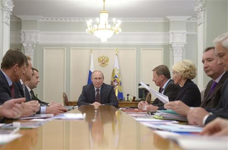 Russian President Putin leads a budget meeting at the Novo-Ogaryovo state residence outside Moscow