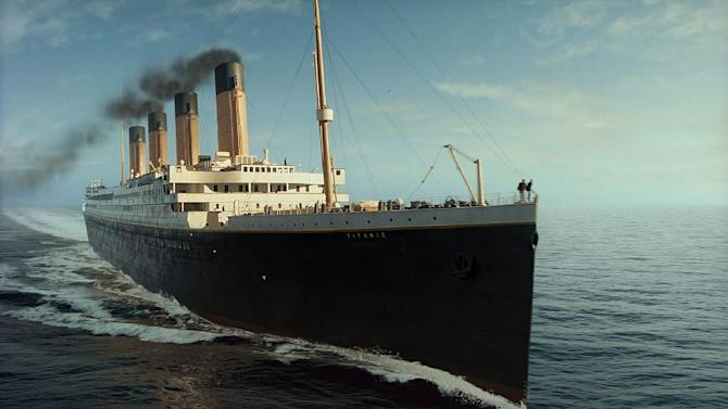 """In this film image released by Paramount Pictures, a scene is shown from 3-D version of James Cameron's romantic epic """"Titanic."""" (AP Photo/Paramount Pictures)"""