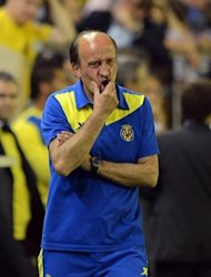 Villarreal coach Miguel Angel Lotina at the La Liga football match against Atletico Madrid at El Madrigal stadium in Villareal. Villarreal lost 1-0 at home to Atletico Madrid