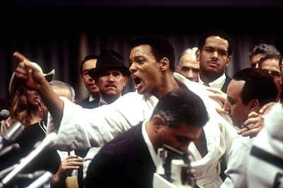 Will Smith as Ali with David Haines (second from right) as Rudy Clay/Rahaman Ali and Ron Silver (far right) as Angelo Dundee in Columbia's Ali