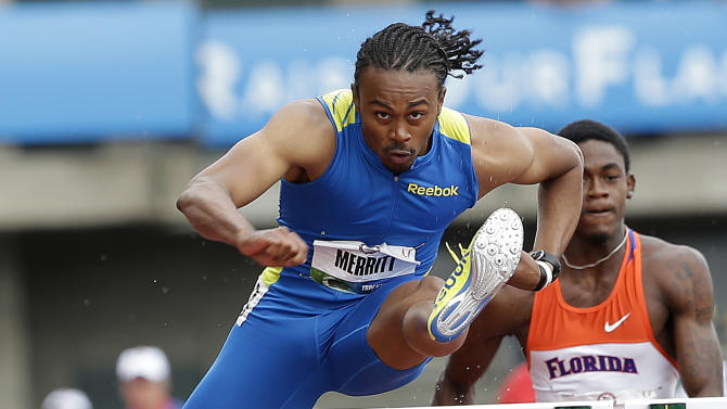 Aries Merritt competes in the semi-finals of the men's 110 meter hurdles at the U.S. Olympic Track and Field Trials Saturday, June 30, 2012, in Eugene, Ore. (AP Photo/Eric Gay)