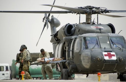 File photo shows a wounded Afghan being airlifted by a US military Medevac unit. US military officers have accused one of the highest-ranking US commanders in Afghanistan of trying to cover up a scandal at a US-funded Afghan-run hospital in Kabul to limit bad news in an election year