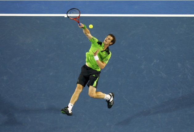 Murray of Britain plays a shot during his semi-final match against Ferrer of Spain at the Australian Open tennis tournament in Melbourne