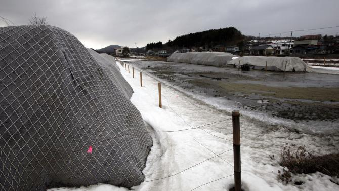 In this Sunday, March 3, 2013 photo, piles of radiation contaminated waste sit in a field in the abandoned town of Iitate, outside the exclusion zone surrounding the Fukushima Dai-ichi nuclear plant in Japan. Two years after the triple calamities of earthquake, tsunami and nuclear disaster ravaged Japan's northeastern Pacific coast, radioactive and chemical contamination remains a threat as clean-up projects face troubles with organized crime and mishandling. (AP Photo/Greg Baker)