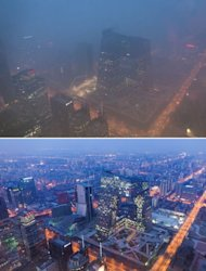 This combination of photos shows (top) the Beijing skyline during severe pollution on January 14, 2013, and the same view (bottom) taken during clear weather on February 4, 2012. Dense smog shrouded the city with pollution at hazardous levels for a fourth day and residents were advised to stay indoors