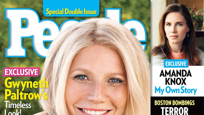 """This cover image released by People shows actress Gwyneth Paltrow on the cover of a special double issue.  The 40-year-old actress tops the magazine's annual list of the """"World's Most Beautiful,"""" announced Wednesday, April 24, 2013.  Paltrow stars in the upcoming film, """"Iron Man 3,"""" out on May 3. The issue is available on newsstands on Friday, April 26. (AP Photo/People Magazine)"""
