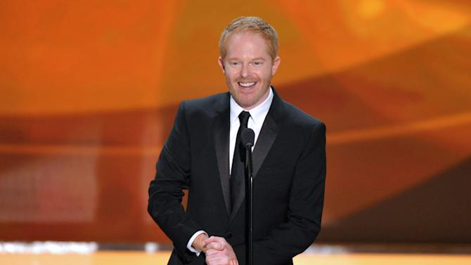 """FILE - This Jan. 27, 2013 file photo shows actor Jesse Tyler Ferguson from the ABC comedy series """"Modern Family,"""" on stage at the 19th Annual Screen Actors Guild Awards at the Shrine Auditorium in Los Angeles. The Public Theater announced Tuesday that the """"Modern Family"""" actor will play Dromio opposite Hamish Linklater's Antipholus for five weeks at the Delacorte Theatre starting May 28. Daniel Sullivan will direct. (Photo by John Shearer/Invision/AP, file)"""