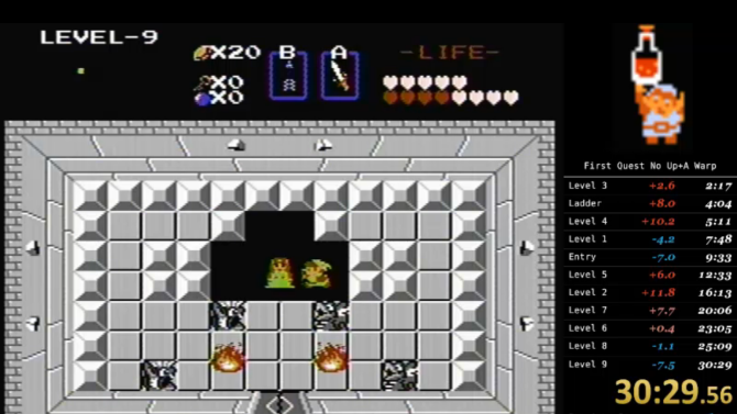 Watch someone beat The Legend of Zelda in 30 minutes by skipping screens, clipping through walls