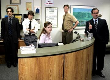 BJ Novak as Ryan, John Krasinski as Jim, Jenna Fischer as Pam, Rainn Wilson as Dwight and Steven Carell as Michael NBC's The Office Office