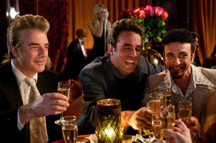 "This film publicity image released by RADIUS-TWC shows Chris Noth as Anthony Romano, left, Bobby Cannavale as Butchie Peraino, center, and Hank Azaria as Jerry Damiano in ""Lovelace."" (AP Photo/RADIUS-TWC, Dale Robinette)"