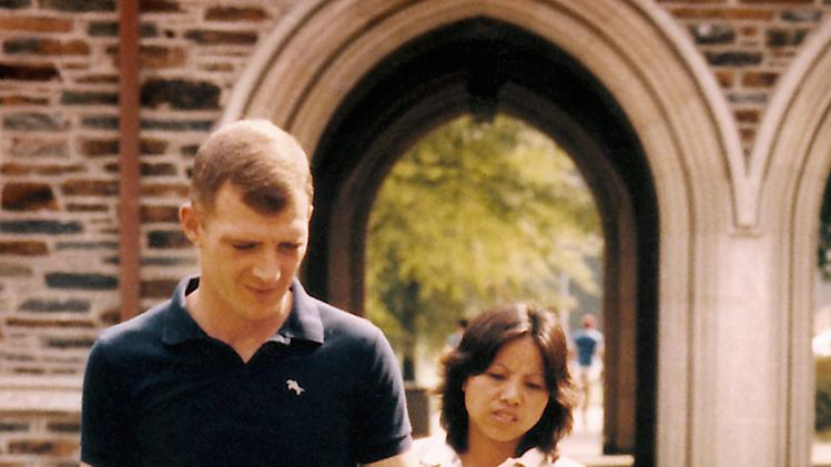 This September 1985 family photo shows Jerry Ensminger, Janey and Janey's mother, Etsuko during a visit to Duke University in Durham, N.C., a couple of weeks before Janey died on Sept. 24, 1985. Jerry, a former drill sergeant, blames contaminated water at Camp Lejeune for the leukemia that killed his 9-year-old daughter. (AP Photo)