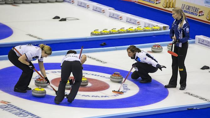 Scotland's Vicki Adams, Sarah Reid, Eve Muirhead and Finland's Oona Kauste in semi-final action at the European Curling Championships in Esbjerg, Denmark