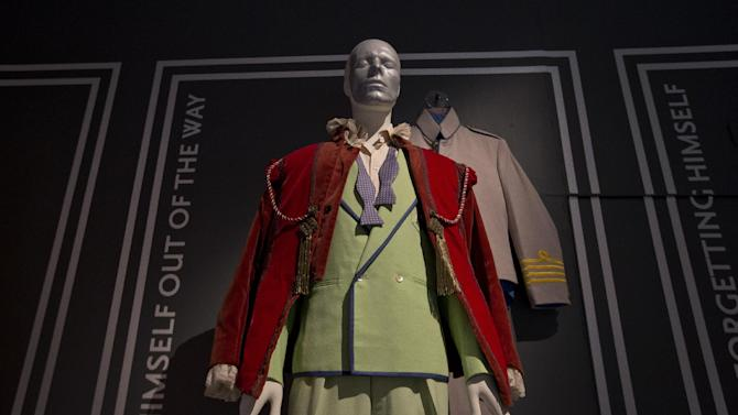 An outfit David Bowie wore on the Serious Moonlight Tour, is photographed as part of a retrospective David Bowie exhibition, entitled David Bowie Is, at the V&A Museum in west London,  Wednesday, Mar. 20, 2013, that features 300 objects including handwritten lyrics, original costumes, fashion, photography, film, music videos, set designs and Bowie's own instruments.(Photo by Joel Ryan/Invision/AP)