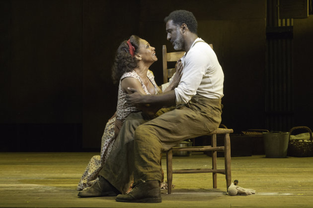 "In this theater image released by Jeffrey Richards Associates, Audra McDonald, left, and Norm Lewis are shown in a scene from ""The Gershwins' Porgy and Bess"" in New York. (AP Photo/Jeffrey Richards Associates, Michael J. Lutch)"