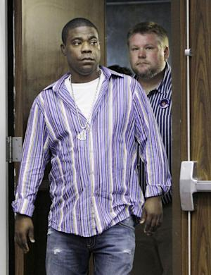 """FILE - In this June 21, 2011 file photo, comedian and actor Tracy Morgan arrives at a news conference with Kevin Rogers, right, in Nashville, Tenn. The publicist for comedian and """"30 Rock"""" cast member Tracy Morgan says the actor wasn't drinking when he collapsed Sunday, Jan. 22, 2012, at the Sundance Film Festival in Park City, Utah. (AP Photo/Mark Humphrey, file)"""