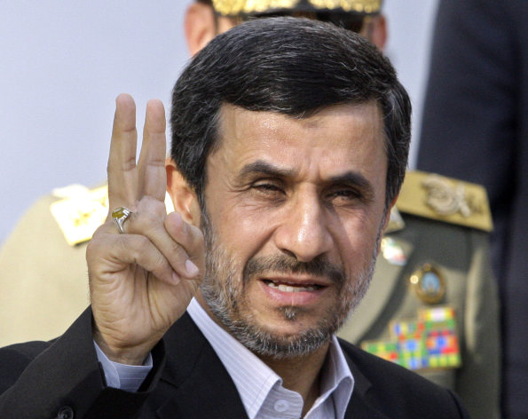FILE - In this Sept. 1, 2012 file photo, Iranian President Mahmoud Ahmadinejad flashes a victory sign in Tehran, Iran. With the Iraq war over and Afghanistan winding down, Iran is the most likely place for a new U.S. military conflict. Despite unprecedented global sanctions, Irans nuclear program is advancing. The United States and other Western nations fear the Islamic republic is determined to develop nuclear weapons and fundamentally reshape the balance of power in the Middle East, while posing a grave threat to Israel. Iran insists its program is solely designed for peaceful energy and medical research purposes. (AP Photo/Vahid Salemi, File)