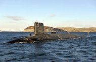 The Trident nuclear submarine, HMS Victorious, is shown on patrol off the west coast of Scotland on April 4, 2013. Britain's leaders are examining proposals to claim sovereignty over the military base in Scotland which houses its Trident nuclear deterrent if the Scottish people vote for independence next year, the Guardian reported Thursday