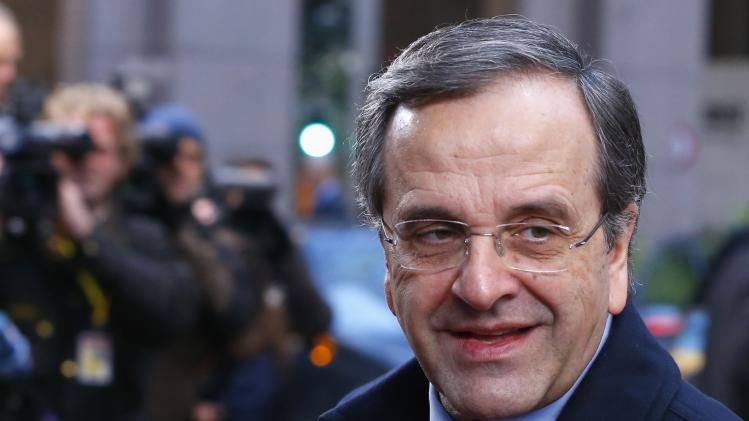 Greece's PM Samaras arrives atEuropean Union leaders summit at EU council headquarters in Brussels