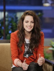 Kristen Stewart gives two thumbs up during an interview on &#39;The Tonight Show With Jay Leno&#39; in Burbank, Calif., on May 4, 2012 -- Getty Premium