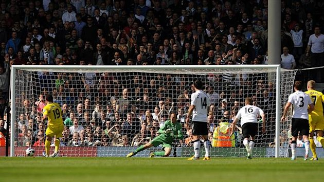 Reading's Hal Robson-Kanu scores the opening goal from the penalty spot v Fulham (PA Sport)