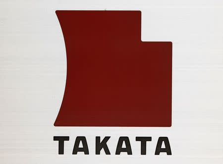 File photo of a logo of Takata Corp outside the company's headquarters in Tokyo