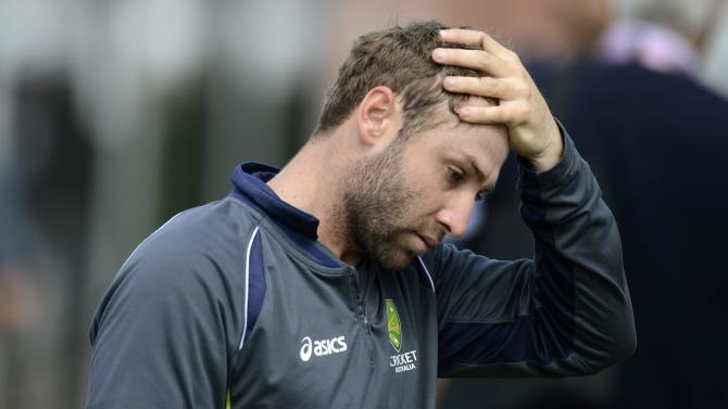 File photo of Australia's Hughes during a training session at Old Trafford cricket ground in Manchester