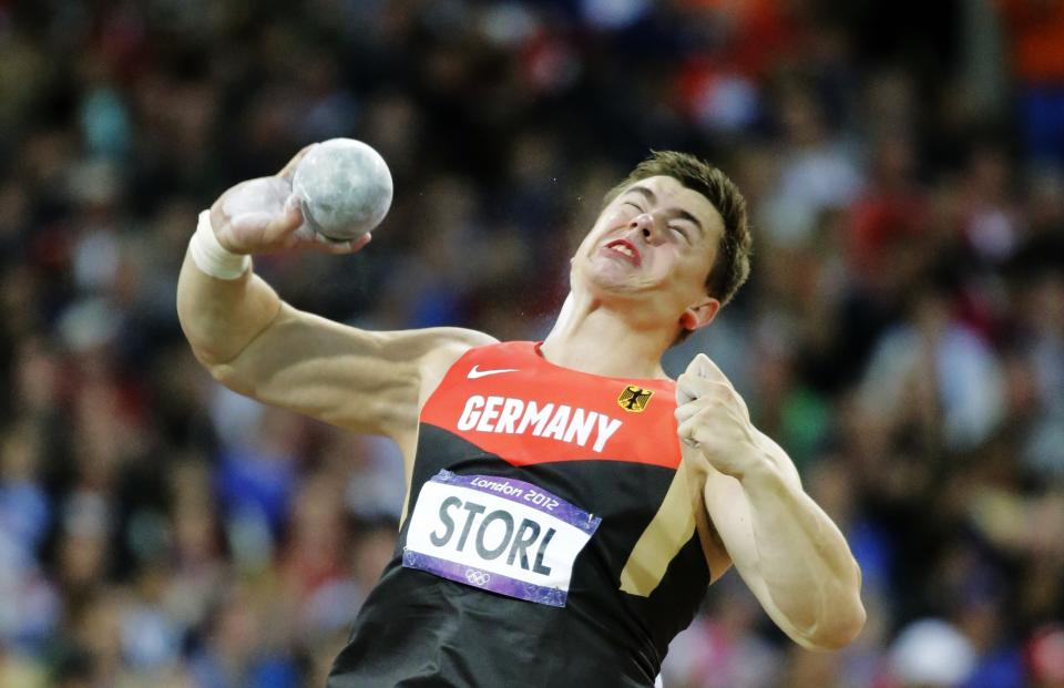 Germany's David Storl competes in the men's shot put final during the athletics competition in the Olympic Stadium at the 2012 Summer Olympics, Friday, Aug. 3, 2012, in London. (AP Photo/David J. Phillip )