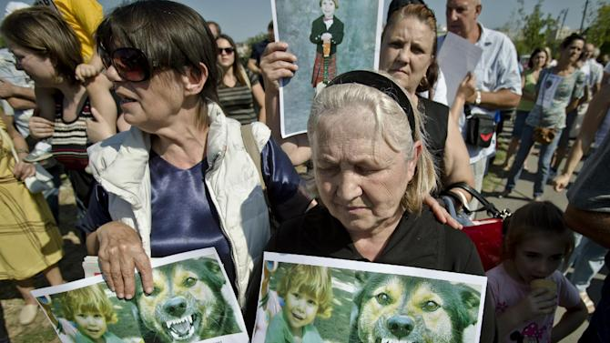 This Sept. 8, 2013 photo shows, Aurica Anghel, grandmother of Ionut Anghel, a 4-year old boy, who was fatally mauled by stray dogs last Monday, after she failed to monitor him for a period of time, while in a park, holds his picture during a protest in Bucharest, Romania. The stray dog population of the Romanian capital is around 64 thousand according to city hall sources. The Matei Bals hospital for infectious diseases says it has treated 9,760 people for dogs bites this year, of which a quarter were children. It was the death of the 4-year-old boy that sparked a new debate over killing strays.(AP Photo/Vadim Ghirda, File)