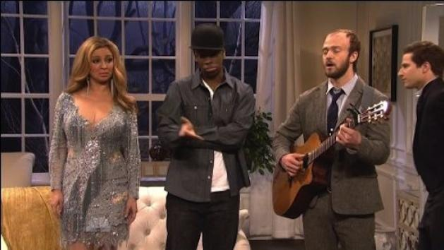 "Maya Rudolph, Jay Pharoah, Justin Timberlake and Andy Samberg perform in a scene on ""Saturday Night Live"" on February 18, 2012 -- NBC"