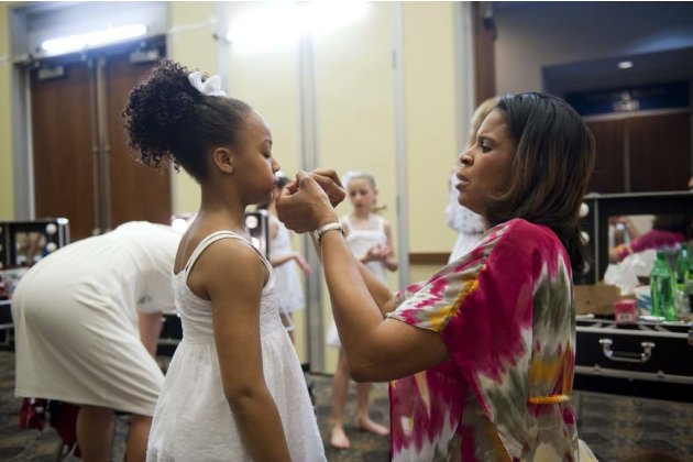 Holly helps her daughter Nia prepare for the competition in &quot;Dance Moms.&quot; 