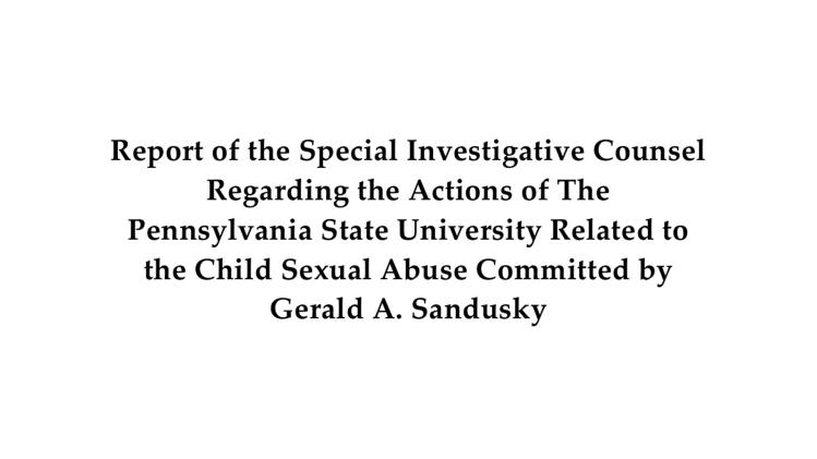 """An image of the first page of  the Freeh Group's report provided by Freeh Sporkin & Sullivan Llp. is shown in Philadelphia, Thursday, July 12, 2012. The report, Penn State's investigation into the Jerry Sandusky scandal, concludes that Hall of Fame coach Joe Paterno and other senior officials """"concealed critical facts relating to Sandusky's child abuse"""". (AP Photo/Freeh Sporkin & Sullivan Llp)"""