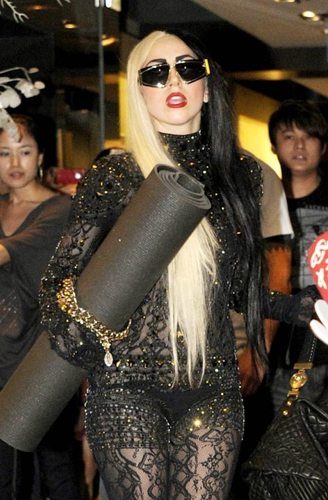 Lady Gaga With Yoga Mat