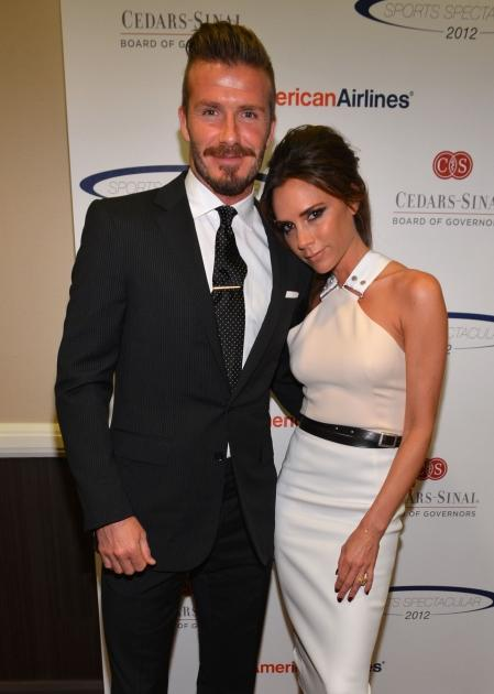 David Beckham and Victoria Beckham arrive at the 27th Anniversary Sports Spectacular benefiting Cedars-Sinai Medical Genetics Institute at the Hyatt Regency Century Plaza in Century City, Calif. on May 20, 2012 -- Getty Images