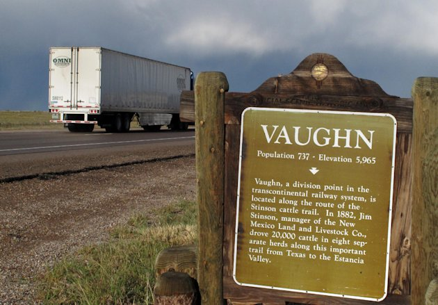 "tTe historical marker of Vaughn, N.M. greets visitors as motorists enter the small town Wednesday, Sept. 26, 2012 photo. Vaughn officials announced Wednesday that town Police Chief Ernest ""Chris"" Armijo resigned after news stories reported that he was not allowed to carry a gun due to his criminal record, leaving the town with just one certified member on its police- force a drug-sniffing dog named Nikka. The town's only other officer isn't certified and pleaded guilty to charges of assault and battery last year. (AP Photo/Russell Contreras)"