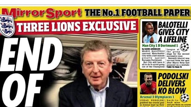 Hodgson, Daily Mirror back page