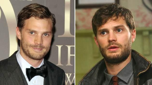 Jamie Dornan on the red carpet (left) and as Sheriff Graham (right) -- Getty ImagesABC