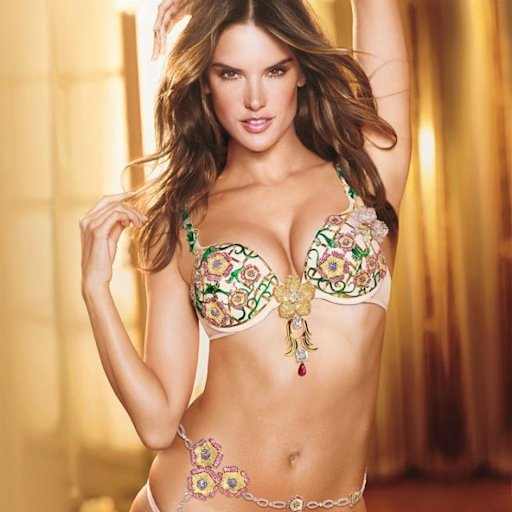 Alessandra Ambrosio wearing this year's $2.5 million Floral Fantasy Bra, designed by London Jewelers of New York