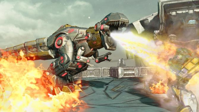 Grimlock attacks in 'Transformers: Fall of Cybertron'