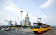 A tram passes in front of the Palace of Culture in Warsaw. Chinese Premier Wen Jiabao on Thursday unveiled a total of $10.5 billion dollars in credit lines and funds aimed at boosting business with the blossoming economies of central and eastern Europe