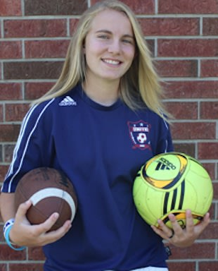 Tecumseh soccer star turned placekicker Jenni Goethe — Ernie Goethe photo